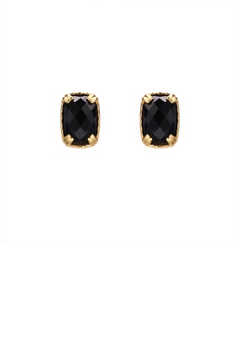 Glamorousky black 925 Sterling Silver Plated Gold Simple Fashion Black Agate Geometric Square Stud Earrings DD3A9AC602C068GS_1
