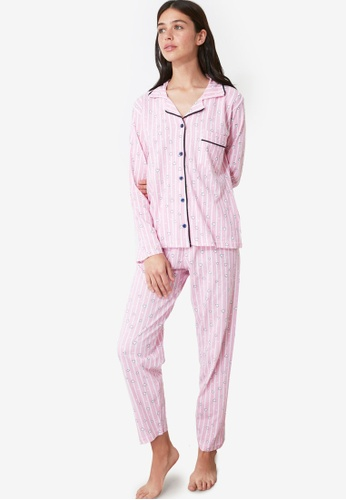 Trendyol pink Printed Knit Pajama Set Powder 644ECAA360DA8DGS_1