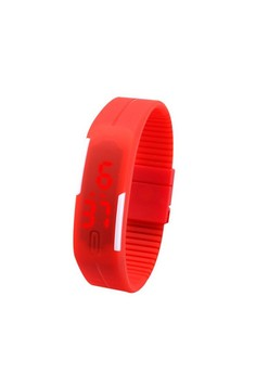 LED Unisex Red Rubber Strap Watch