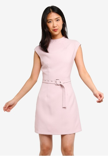 ZALORA BASICS pink Basic High Neck Belted Dress 034B1AA952C8FBGS_1