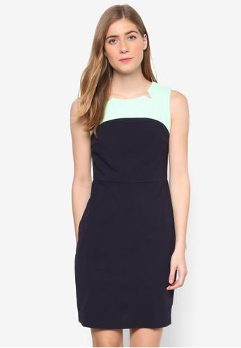 Jesprit twen 撞色拼接無袖連身裙, 服飾, 洋裝