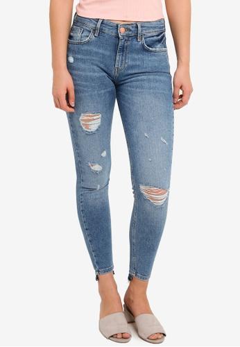 River Island blue Amlie Pumpkin Super Skinny Jeans 6FEABAA8F3CAB9GS_1