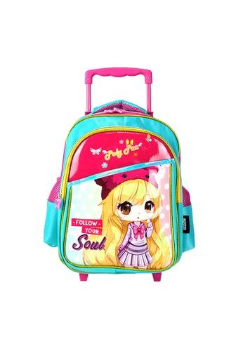 Poly-Pac pink Poly-Pac PK2029R 14 inch Kawaii Cartoon Girl Trolley Kindy School Bag A589EKC3997FA8GS_1