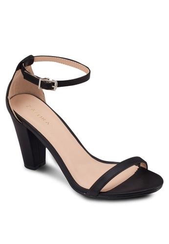 一字帶繞踝粗跟涼鞋, 女鞋,zalora 內衣 鞋