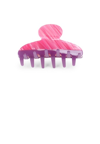 Glamorousky pink and purple Simple and Elegant Rose Red Striped Geometric Hair Claw 79650ACF965914GS_1