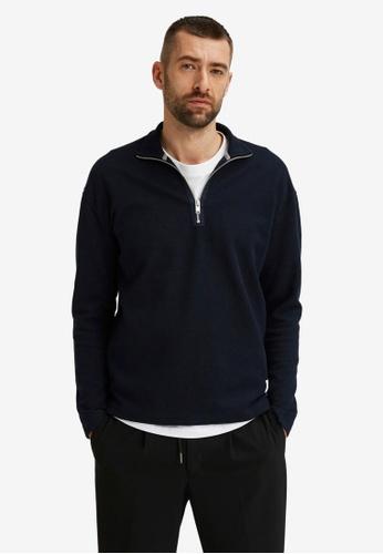 Selected Homme navy Zip Sweatshirt CA9C1AAD7BCEB3GS_1