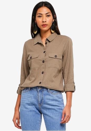 Dorothy Perkins green Khaki Safari Linen Shirt 4C0AFAA115E1F3GS_1