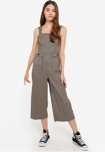 yet not vulgar the sale of shoes online sale Camel Checked Pocket Pinafore Jumpsuit