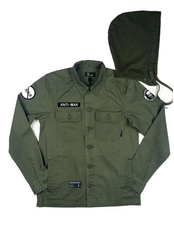 L.I.M.I.T.E green Terry Hood with Emb Patch Twill Shirt Jacket LI425AA0FCJ6SG_1