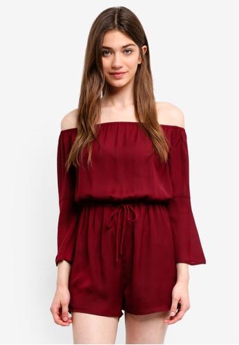 Something Borrowed red Off Shoulder Flare Sleeves Romper 05247AA1004B44GS_1