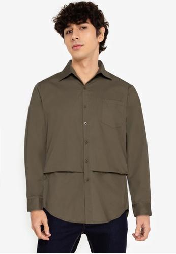 ZALORA BASICS green Layered Effect Buttoned Shirt 1643AAA28D8908GS_1