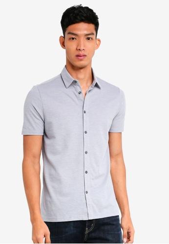 Burton Menswear London 灰色 短袖襯衫 5D04FAA8CFB9B1GS_1