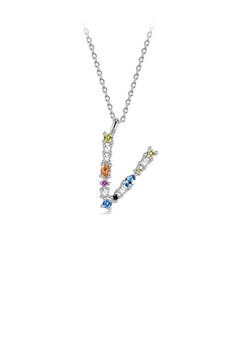 Glamorousky silver 925 Sterling Silver Fashion Simple Color English Alphabet V Pendant with Cubic Zirconia and Necklace 5F1FBAC3358B95GS_1