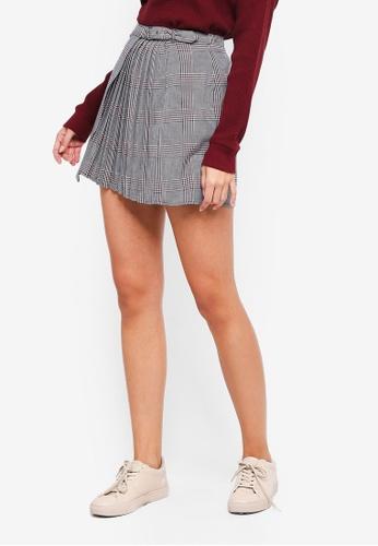 Abercrombie & Fitch grey Pleated Sartorial Mini Skirt FAF29AA9F4D0B6GS_1