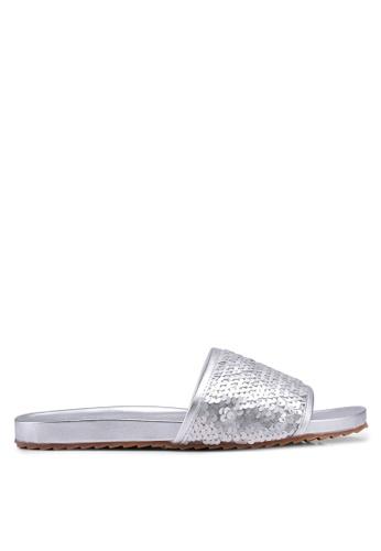 Nose silver Sequin Flat Slide On Sandals 69843SHBCFBA77GS_1