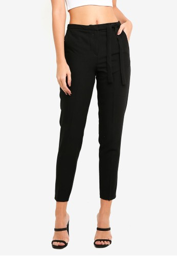 MISSGUIDED black Tie Belt Crepe High Waisted Trousers 412FAAA013A2D3GS_1