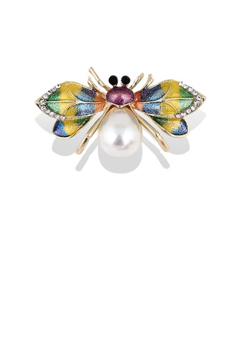 Glamorousky white Fashion Personality Plated Gold Color Spider Imitation Pearl Brooch with Cubic Zirconia EC578AC227E683GS_1