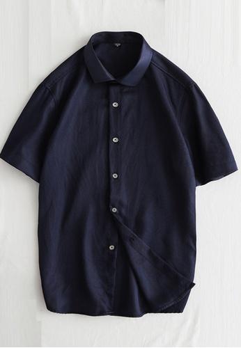 Trendyshop navy Plain Slim Casual Shirt AFF2BAA605AA2CGS_1