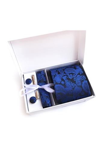 Kings Collection blue Blue Tie, Pocket Square, Cufflinks, Tie Clip 4 Pieces Gift Set (KCBT2153) D43DEAC2B99789GS_1
