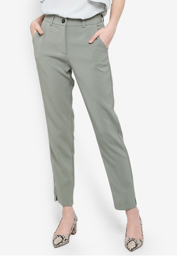 FORCAST green Saylor Crop Notched Pants A59FCAAEEB4423GS_1