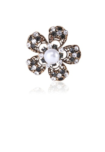 Glamorousky black Fashion and Elegant Plated Gold Flower Imitation Pearl Brooch with Cubic Zirconia 8492FAC1B67E88GS_1