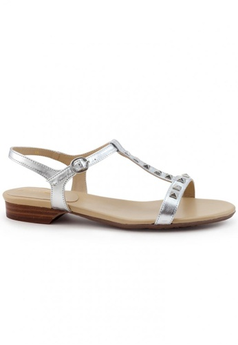 Shu Talk silver Nappa Leather T-Shaped Stub Sandals SH397SH0FPJBSG_1