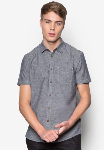 亞麻混紡短袖esprit outlet 台中襯衫, 服飾, 素色襯衫