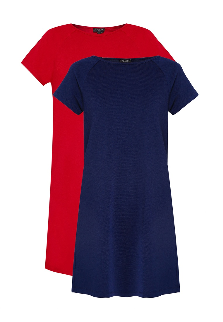 ZALORA Essential 2 pack Shift Sleeve BASICS Dress Maroon Raglan Navy RHw6x4qYH