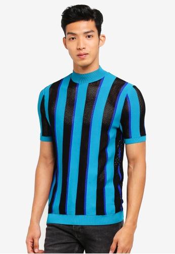 Topman 藍色 針織條紋棉T AA56AAADA82C3FGS_1
