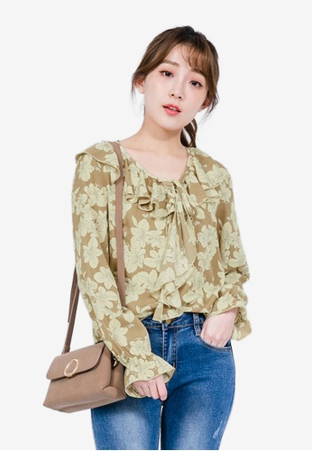 Tokichoi beige Floral Top with Ruffle Lapel 207A3AAF02BCC0GS_1