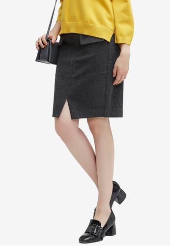 Hopeshow grey Double Pocket Slit Skirt 21B51AABA7383EGS_1