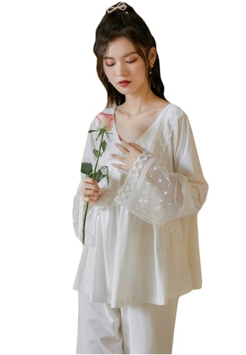 LYCKA white LML1316-Lady Casual Pajamas Two Pieces Set-White 4BB4AAAF11468CGS_1