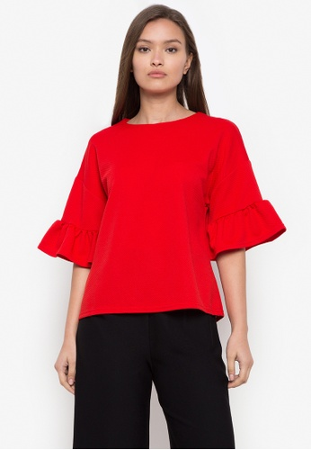 CIGNAL red Round Neck Bell Sleeves Blouse ED41CAAC8D2E37GS_1