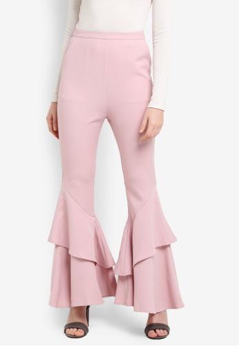 Zalia pink Layered Flare Pants AC5B6AA1D04B98GS_1