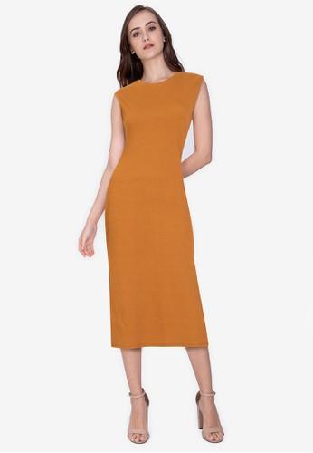 ZALORA WORK brown Side Slit Rib Dress AEFCAAA2E82C6EGS_1