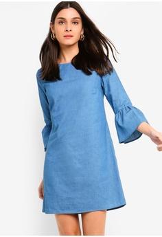 2fd46982f3 ZALORA blue Chambray Flare Sleeves Dress BFCD1AA12738E4GS 1