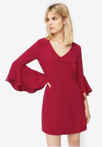 Mango red Ruffled Sleeve Dress MA193AA0ROQEMY_1