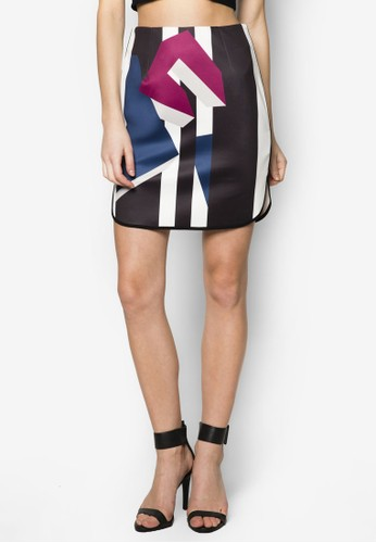 撞色滾邊印花鉛筆短裙, 服飾zalora 心得, 服飾