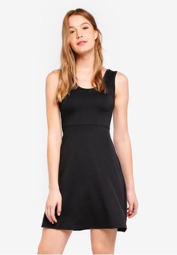 ZALORA BASICS black Basic Scoop Neck Fit & Flare Dress 617D2AABA288B4GS_1