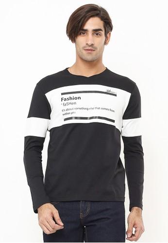 Johnwin black Slim Fit - Kaos Casual Active - Two Tone Color - Lengan Panjang - Hitam 0E98CAAE008BBAGS_1