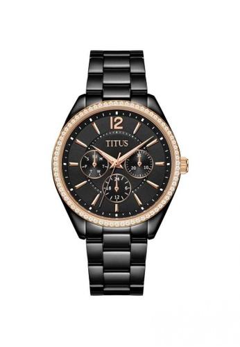 Solvil et Titus black Fashionista Women's Multi-Function Quartz Watch in Black Dial and Black Stainless Steel Bracelet 40F4CAC302114DGS_1