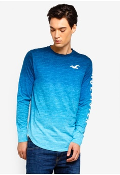 96e5fcc1cb2b Hollister blue Logo Ombre T-Shirt FB097AA395ED74GS 1