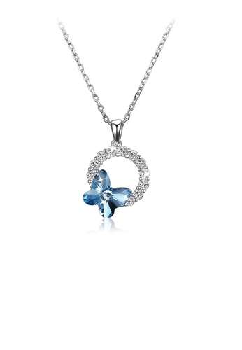 Glamorousky white 925 Sterling Silver Elegant Blue Butterfly Pendant with Austrian Element Crystal and Necklace 84E13AC3CB7463GS_1