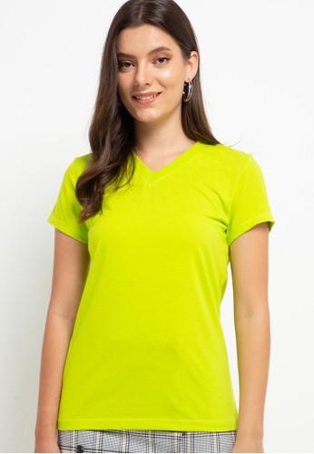 Tolliver green V Neck Basic Short Sleeve Tee 96E01AAF788212GS_1