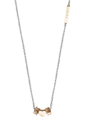 ESPRIT gold ESPRIT [Dulcet Trio] Two-Tone Silver & RoseGold Stainless Steel Necklace (42 cm + 3 cm extension) 26D0AAC1D55FD6GS_1
