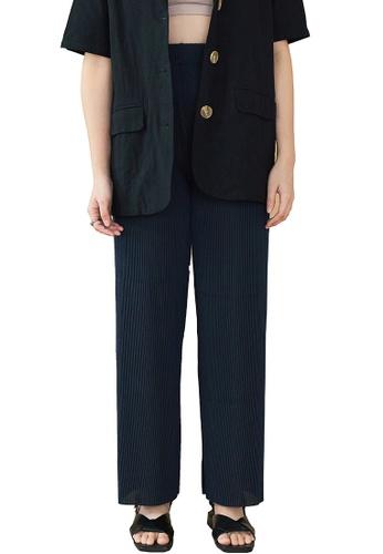 We Enjoy Simplicity blue Oslo Soft Textured Long Pants (Navy) EC130AA016D38FGS_1