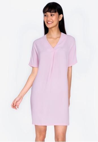 ZALORA BASICS pink Pleat Front Short Sleeve Dress D0286AA956E507GS_1