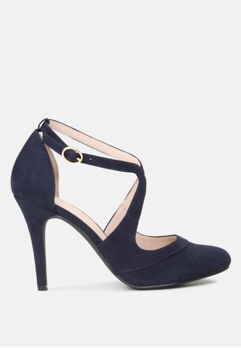London Rag 海軍藍色 鞋攀交叉高跟皮凉鞋 B3C09SHF3B4792GS_1