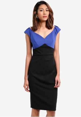 Goddiva black and blue Pleated Contrast Midi Dress 2D3A4AABB57C1CGS_1