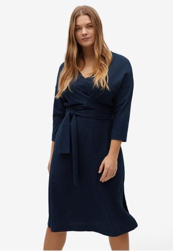 Violeta by MANGO blue Plus Size Bow Wrap Dress 0FBAEAAA17A5BBGS_1